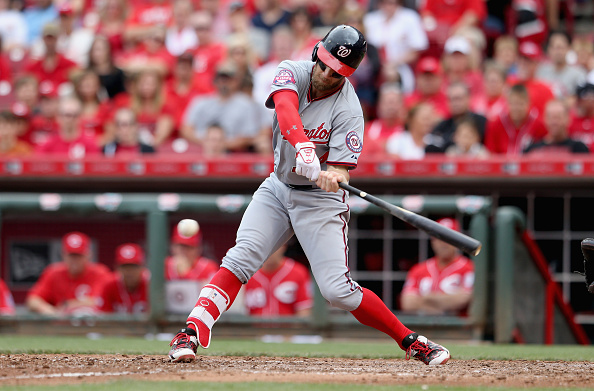 CINCINNATI, OH - MAY 31:  Bryce Harper #34 of the Washington Nationals bats during the game against the Cincinnati Reds at Great American Ball Park on May 31, 2015 in Cincinnati, Ohio.  (Photo by Andy Lyons/Getty Images)